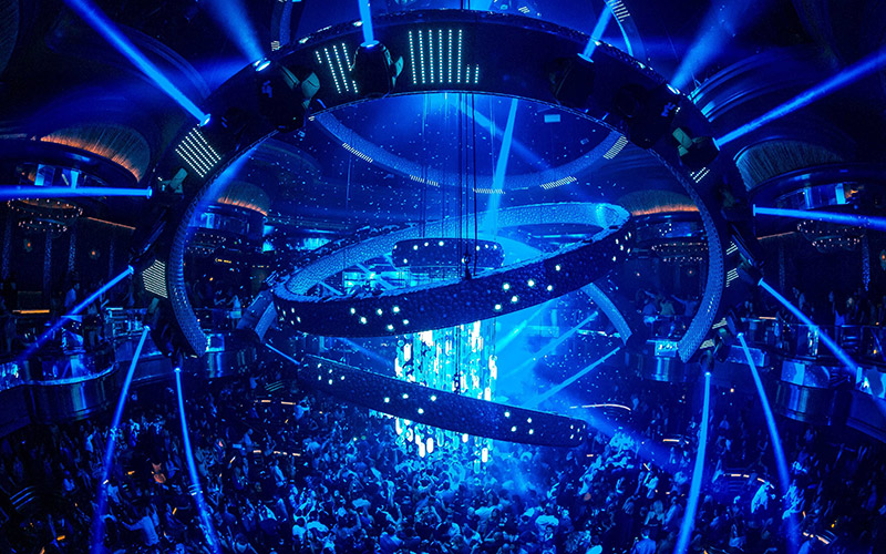 Omnia Nightclub Las Vegas ariel view of the kinetic chandelier.