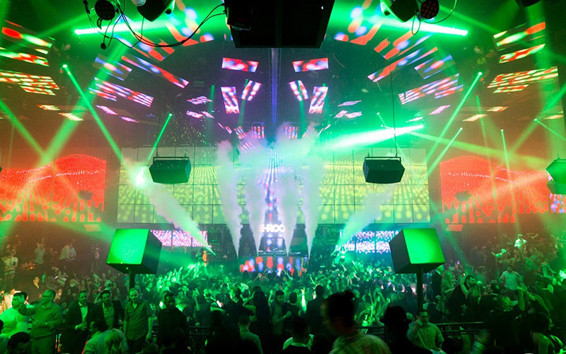 Night club in Vegas main room crowd and stage at Light.