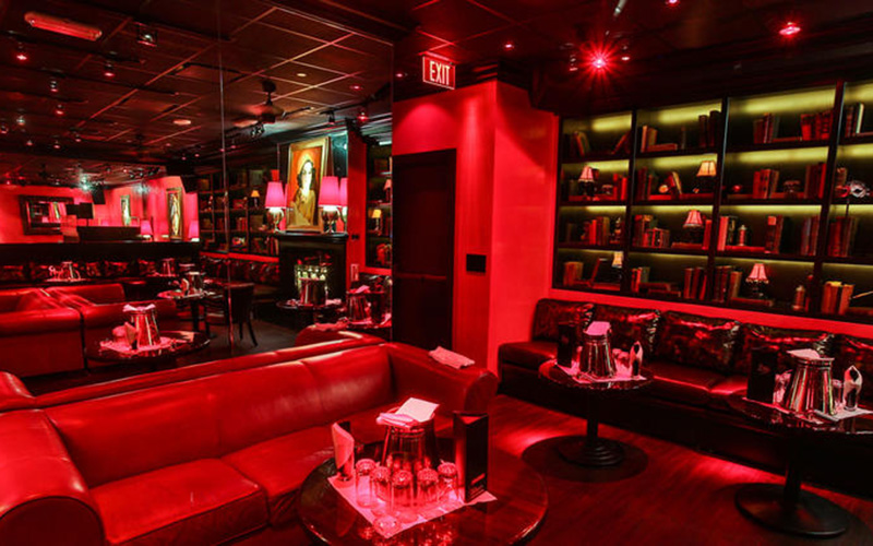 Drai's After Hours bottle service on the red couches.