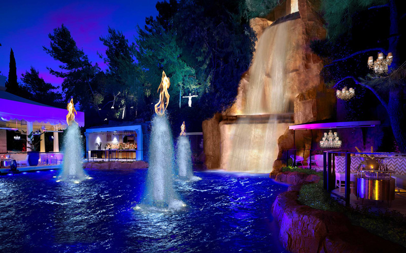 Intrigue Nightclub Las Vegas waterfall.