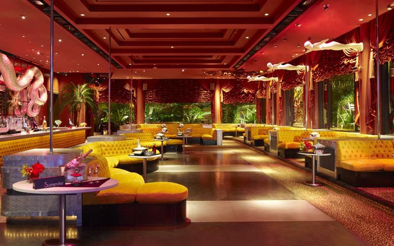 Surrender Nightclub Las Vegas main room and VIP booths.