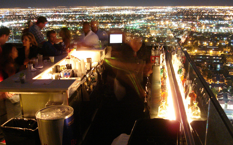 Ghostbar bottle service on the outside skydeck.
